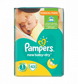 Подгузники Pampers New Baby-Dry 1 (2-5 кг) 43 шт.