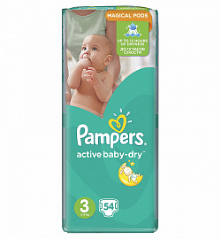 Подгузники Pampers Active Baby-Dry 3 (5-9кг) 54 шт.
